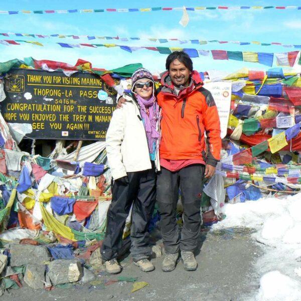 Tina Eckert und Bhagwan Thorong-La Pass